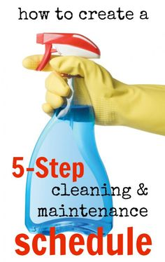 Can't get a handle on all of the cleaning and maintenance tasks for your home? Here's how to create a cleaning and maintenance schedule in 5 steps! Homemade Cleaning Products, Cleaning Recipes, House Cleaning Tips, Spring Cleaning, Cleaning Hacks, Cleaning Supplies, Cleaning Items, Ideas Para Organizar, Cleaning Solutions