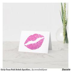 Girly Faux Pink Bokeh Sparkles Glitter Thank You Card
