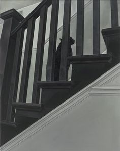 Gillian Carnegie Prince 2011–12; black and white photo of cat on staircase