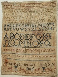 Early 19th Century Silk Work Alphabet Sampler by Frances Barber 1816 | eBay