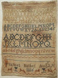 Early 19th Century Silk Work Alphabet Sampler by Frances Barber 1816 | eBay
