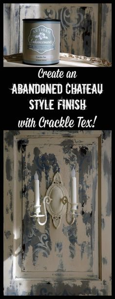 "Great tutorial on creating an ""Abandoned Chateau Style Finish"" with Artisan Enhancements Crackle Tex!  Also featuring the Artisan Enhancements Venetian Damask Stencil!"