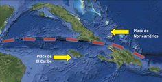 Mapa del movimiento de las placas de El Caribe y de Norteamérica.