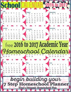 2016 to 2017 Academic Year at a Glance Cherry Fizz form @ Tina's Dynamic Homeschool Plus