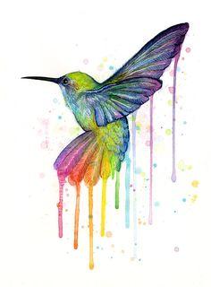 Kolibri-Aquarell - Kunstdruck Giclée-Druck von meiner original-Gemälde von einem wunderschönen Kolibri, gemalt in allen Farben des Regenbogens. Die