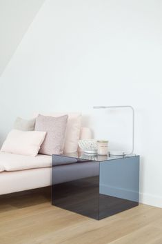 Best IKEA Lack table HACK ever! Upgrade your Lack Table with Plexiglas, design by Kristina Steinmetz Ikea Lack Tisch Hack, Lack Table Hack, Ikea Lack Table, Ikea Hack Nightstand, Ikea Mirror Hack, Ikea Hack Bedroom, Diy Bedroom, Diy Projects Apartment, Diy Home Decor Projects