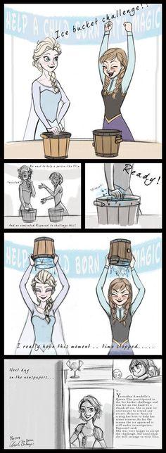 Disney-Frozen Ice bucket challenge by ChiehChen on DeviantArt Disney Princess Memes, Disney Memes, Frozen Disney, Cute Disney, Disney Art, Disney Stuff, Disney And Dreamworks, Disney Pixar, Frozen Comics