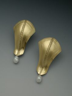 Betty Helen Longhi: Pirouette Earrings #3 with Pearl: fold formed, roll printed formed and fabricated.
