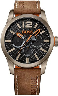 BOSS Orange - 1513240 - Montre Homme - Quartz - Analogique - Bracelet cuir Marron: Amazon.fr: Montres