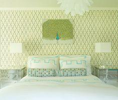 Turquoise and Green Bedroom Ideas. Laura Tuntun Interiors.