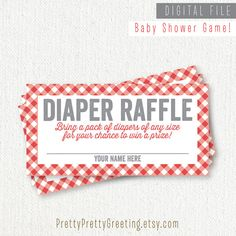 Printable Diaper Raffle Ticket - Baby Shower Game - by PrettyPrettyGreeting on Etsy