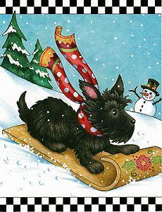 MARY ENGELBREIT NOTE CARDS CHRISTMAS SLEDDING SCOTTIE DOG TOBOGGAN NEW DESIGN