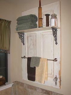 the doors, towel racks, salvaged doors, bathrooms decor, bathroom ideas, master baths, vintage bathrooms, bathroom shelves, old doors