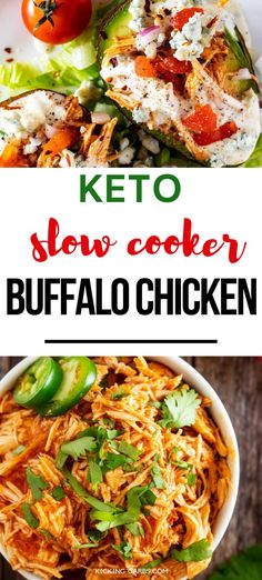 You are going to fall in love with this Crockpot Keto Buffalo Chicken!  Perfect for meal prep, this low carb dish makes throwing together a casserole or salad a cinch!  I make this one every weekend!  PINNING!  #kickingcarbs #ketomealprep #crockpot #lowcarbrecipe #easyketorecipes