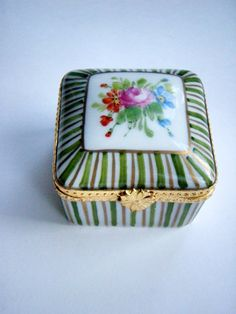 Limoges Porcelain Ceramic Pill box Hand painted pink gold green