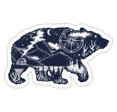 Bear double exposure tattoo art. Tourism symbol, adventure, great outdoor. Mountains, compass. Bear grizzly silhouette t-shirt design • Also buy this artwork on stickers, apparel, phone cases, and more.