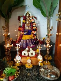 Varalakshmi Vratham 2019 honours the most popular Goddess Maha Lakshmi. Varalakshmi Puja or homam on this day means abundant wealth is sure to come your way. Housewarming Decorations, Diy Diwali Decorations, Festival Decorations, Flower Decorations, Wedding Colors, Decor Wedding, Wedding Decorations, Wedding Flowers, Diwali Pooja