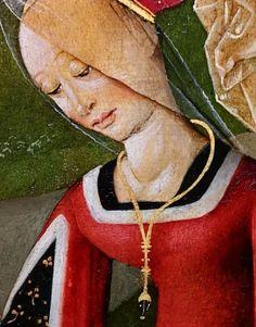 Samaritan woman at the well, detail of the Jerusalem Triptych by Anonymous from Gdańsk, 1497-1500, National Museum in Warsaw. © Marcin Latka #jerusalem #triptych #gdansk #artinpl #nationalmuseuminwarsaw #tempera #oil #oak #gothic #medievalfashion #reddress #jewels #jewellery #samaritan Medieval Fashion, Tempera, Triptych, National Museum, Warsaw, Jerusalem, Anonymous, Gothic, Oil