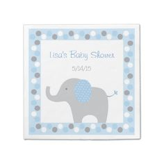 Shop Pink Elephant Baby Shower Paper Napkins created by LittlePrintsParties. Mom And Baby Elephant, Elephant Baby Showers, Pink Elephant, Baby Shower Napkins, Party Napkins, Cocktail Napkins, Grey Baby Shower, Pink Polka Dots, Baby Shower Decorations