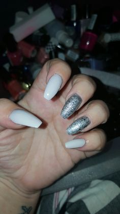 Grey with accent silver sparkle nails on my by me ❤