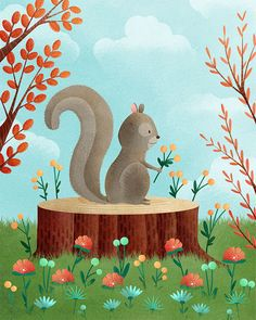 squirrel art print -- Woodland Friends Squirrel -  squirrel artwork, nursery, kids art, childrens room art, forest, grey, flower. $24.00, via Etsy.
