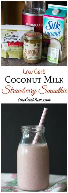 A low carb coconut milk strawberry smoothie that's so quick to make. It's made with only four low carb ingredients and takes less than 2 minutes to prepare. Atkins Weight Watchers LCHF THM
