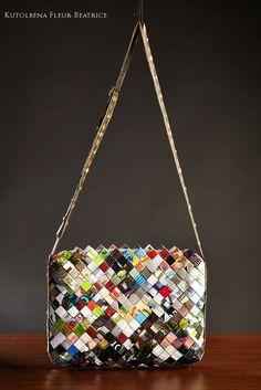 Magazines upcycled into an elegant bag.