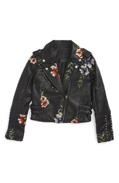 Main Image - BLANKNYC Embroidered Faux Leather Moto Jacket (Big Girls)