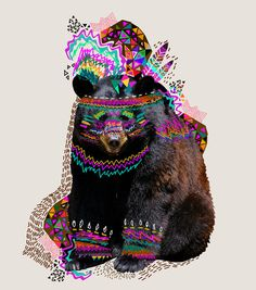 this has everything you could want in a print...a bear...neon...