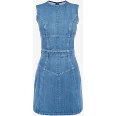 Alexander McQueen Denim Mini Dress (2.960 BRL) ❤ liked on Polyvore featuring dresses, dark indigo, zipper dress, blue denim dress, zip dress, zipper mini dress and sleeveless denim dress