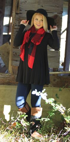 Mondaydress.com - $14.99 Red Large Buffalo Plaid Scarf and $29.99 Black Hold Onto Your Floppy Hat