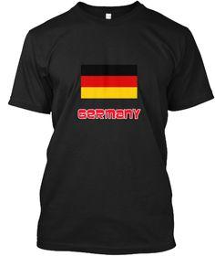 Germany Flag Retro Red Design Black T-Shirt Front