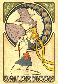 Oh my god, love this! Sailor Moon in the style of Mucha :)
