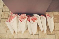 doily cones for petal confetti at this destination wedding