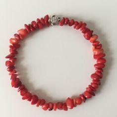 A coral bracelet with a silver-plated bead turtle  #etsyshop #beadedbracelet #stretchbracelet #coralbracelet #turtlebracelet #tinyturtle #silverplatedturtle Beaded Jewelry, Beaded Bracelets, Tiny Turtle, Coral Bracelet, Red Coral, Stretch Bracelets, Silver Plate, Etsy Shop, Beads