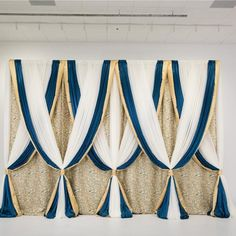 H x W Martinique Gold & Teal Pro-Designed Backdrop Wedding Draping, Wedding Backdrop Design, Gold Backdrop, Wedding Reception Backdrop, Backdrop Decorations, Photo Booth Backdrop, Wedding Stage, Diy Wedding Decorations, Bridal Shower Decorations