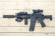 VFC HK416C (Systema TW custom) Airsoft gun in Japan. Fashion Photo.