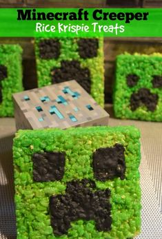 Are your kids as obsessed with Minecraft as my two are? If that's the case, they may get a kick out of these Minecraft Creeper Rice Krispie Treats. Rice Crispy Treats, Krispie Treats, Rice Krispies, School Birthday Snacks, School Snacks, Birthday Ideas, Minecraft Birthday Party, Kid Friendly Meals, Cute Food
