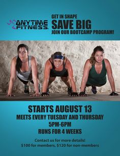 Boot Camp Fitness Exercises March to Anytime Fitness for a 4-week Better Boot Camp Workout! Starts ...