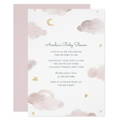Sweet Dreams Baby Shower Invite Invitation with watercolor clouds, moon and stars Cloud Baby Shower Theme, Baby Shower Sweets, Baby Shower Invites For Girl, Baby Shower Themes, Baby Shower Invitations, Baby Shower Gifts, Shower Ideas, Girl Shower, Baby Theme