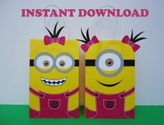 DIY Minions Party FAVOR BAGS/ Despicable Me Minions Party Bags/ Birthday Party/ Ideas/ Printable Goody/ Goodie/ Candy/ Treat/ Loot/ Favors/ Gift Bags/ Bag/ Boxes/ instant download bags/ festa Minions/ lembrançinhas/ lembranças/ aniversario Minions/ painel/ banner/ free/ invite/ invitation/ balloons/ cake/ pastel/ bolo/ minions menina/ girl/ pink/ girls/ piñata/ decor/ dress/ tutu/ shirts/ masks