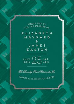 Your wedding invitations will set the tone of your green themed wedding. Shop Gallery Label Foil-Pressed Wedding Invitations by Ashley Hegarty at minted.com