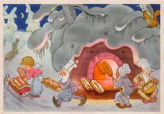 Charlotte Baron (RAA) - Vintage German Christmas Postcard Angel helping bake bread