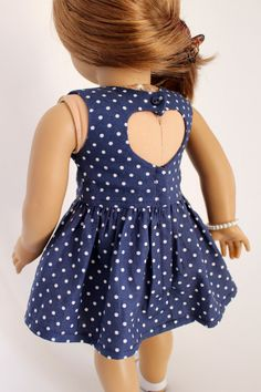 Navy & White Dot Dress with Heart Backing by LollyDollyDesigns on Etsy