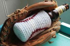 Baseball crochet cozy for your beer.....or baby bottle ;) always gotta think of new uses :)