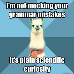 "Now say it again…into the mic [Picture: Background: 8-piece pie-style color split with alternating shades of blue. Foreground: Linguist Llama meme, a white llama facing forward, wearing a red scarf. Top text: ""I'm not mocking your grammar mistakes"" Bottom text: ""It's plain scientific curiosity""]"