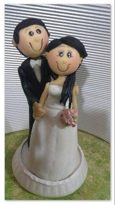 novios, matrimonio, boda, porcelana fria, pasta flexible, modelad0, torta