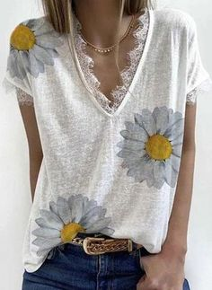 White Short Sleeve Shirt, Short Sleeves, T Shirts For Women, Clothes For Women, Casual T Shirts, Printed Shorts, Types Of Sleeves, Boho Fashion, Fashion Top