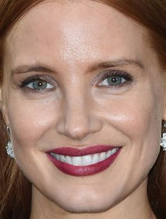 Close-up of Jessica Chastain at the 2015 Vogue and Ralph Lauren Wimbledon party. http://beautyeditor.ca/2015/07/02/best-celebrity-beauty-looks-barbara-palvin