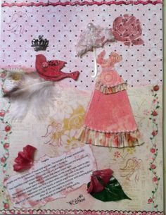 Angels. Canvas mounted on plaque. Scrapbook paper background.  Hand painted rosebud vine.  Paper dress with ruffles and pearls. Lace parasol.  Silks flowers. Angel and rose stamps. Chipboard bird on feathers.  Adorned with crown. #2 By Pat Miskowicz
